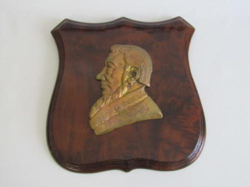 Large vintage original solid brass profile bust of paul