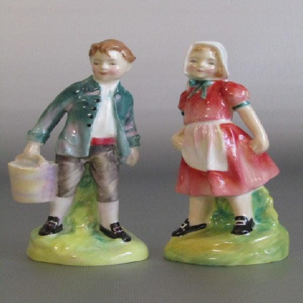 Pair of vintage 1949 royal doulton figurines jack and jill