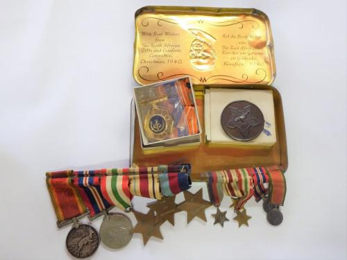 Ww2 medals - father & son set all in jan smuts ww2 tin