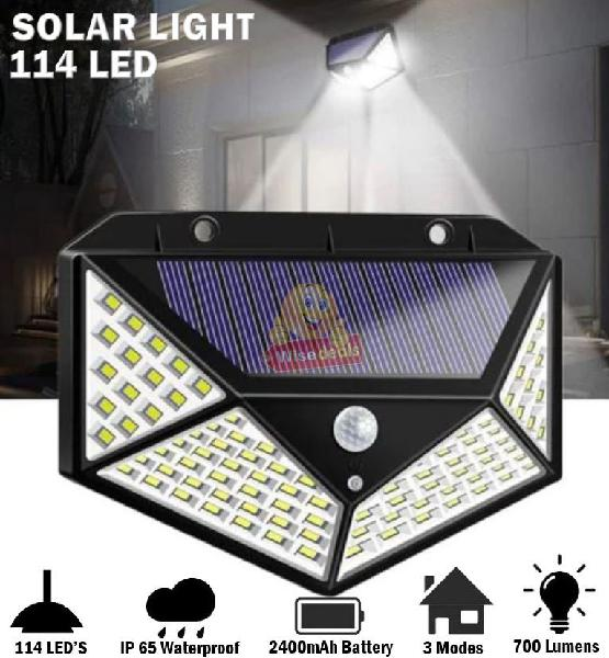 114 led super bright solar wall light, motion sensor with 3