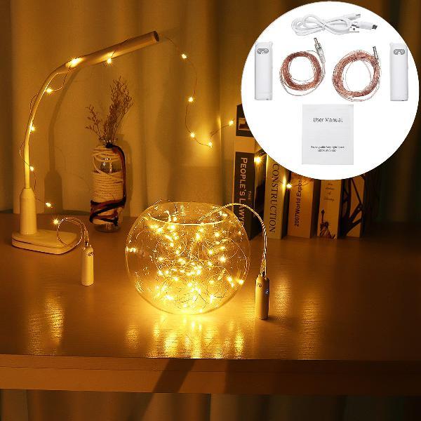 2 packs 2m 5m mini waterproof copper wire led string light