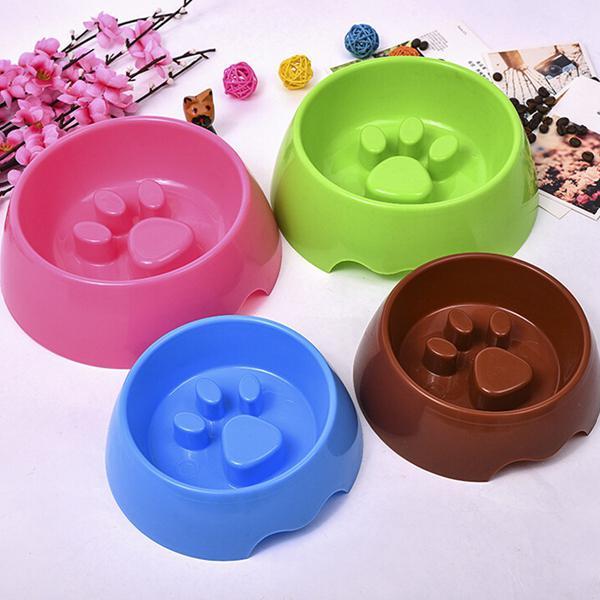 2 sizes pet dog cat slow eating feeder bowl puppy plastic