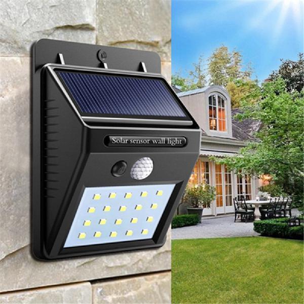 2pcs solar power 20 led pir motion sensor wall light
