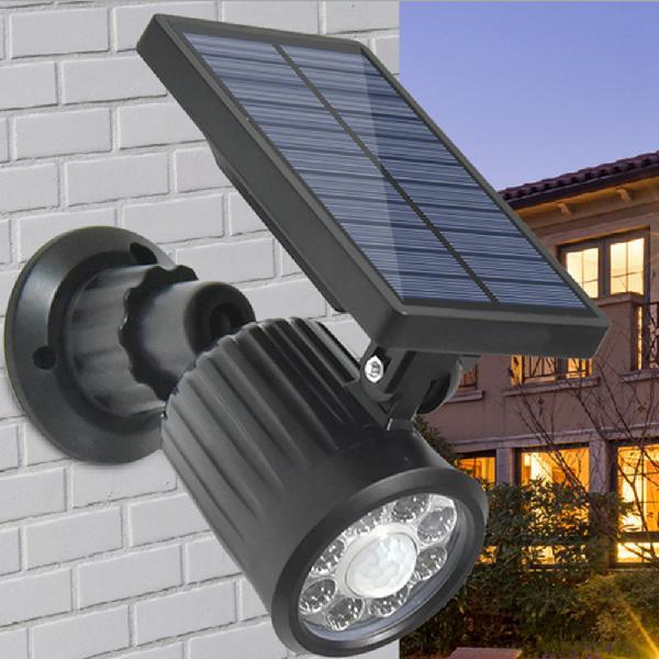 Solar power 8 led pir motion sensor spot light outdoor