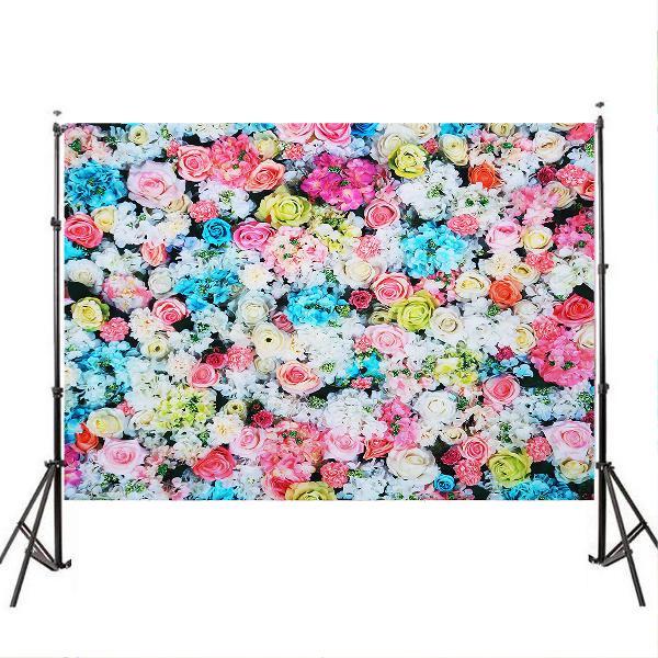3x5ft 5x7ft vinyl pink blue rose wall photography backdrop