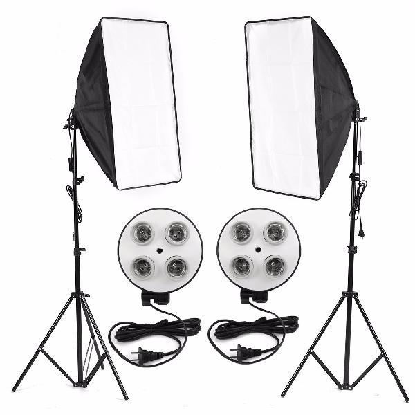 Photo video studio lighting kit 4-socket e27 lamp holder