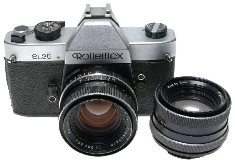 Rollei sl 35 old film camera with 2 lenses outfit - rollei
