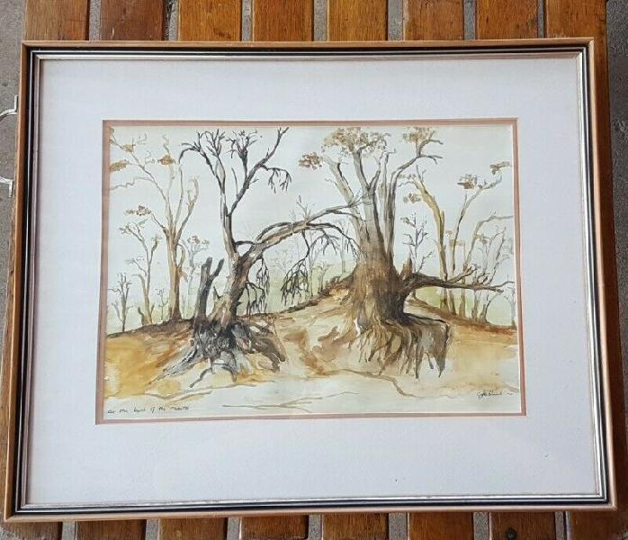 "Framed print ""on the bank of the mosetsi (length 54 cm,"