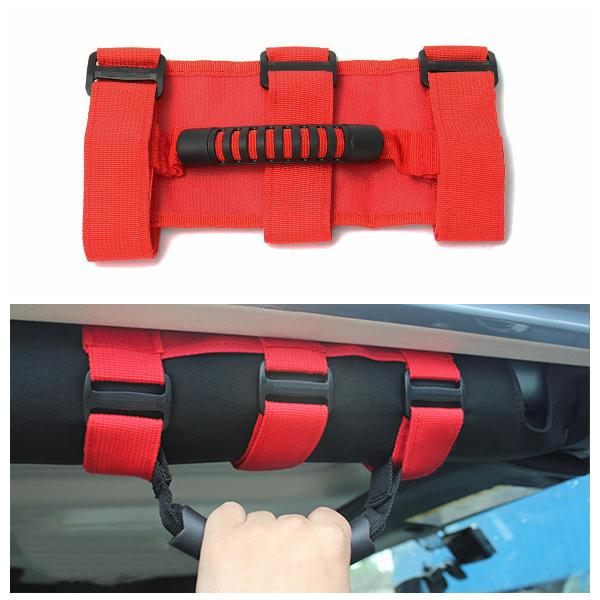 Sport roll bar grab handles red for jeep wrangler yj tj jk