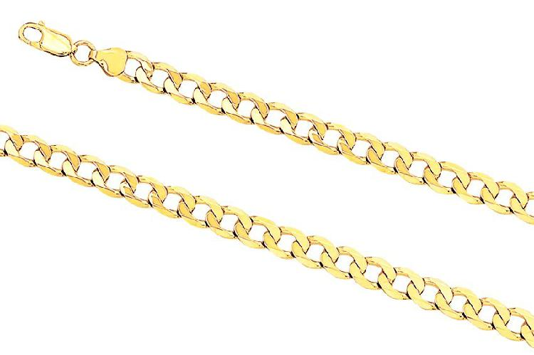 9k / 9ct gold oval curb bracelet: 7.6mm wide, 23cm