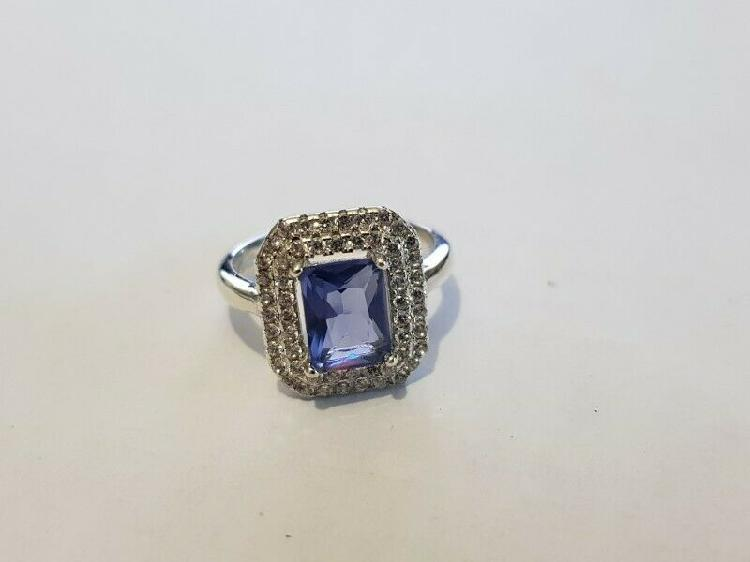 Ba317.925 silver cubic blue stone ring