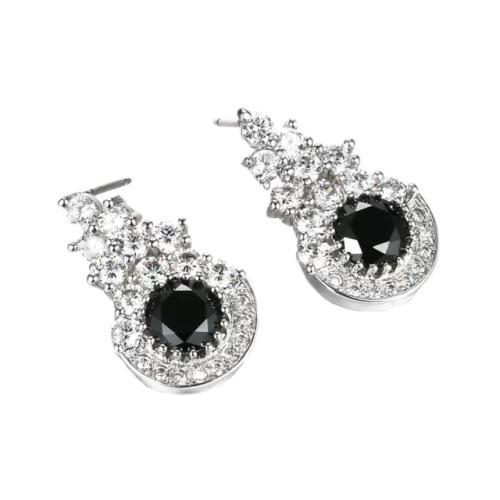 Classic round cut black sapphire cz stud earrings women
