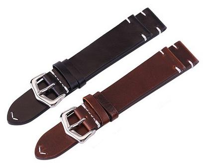 Dark brown genuine leather 20mm watch straps