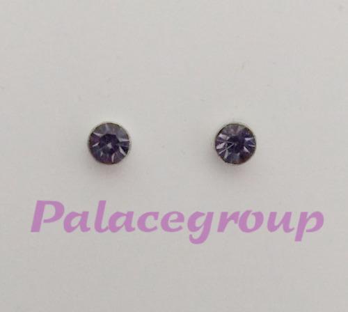 Earring set, silver stamped 925, purple crystal, stud type