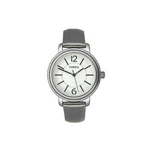 Fossil womens es2706 grey leather strap white analog dial
