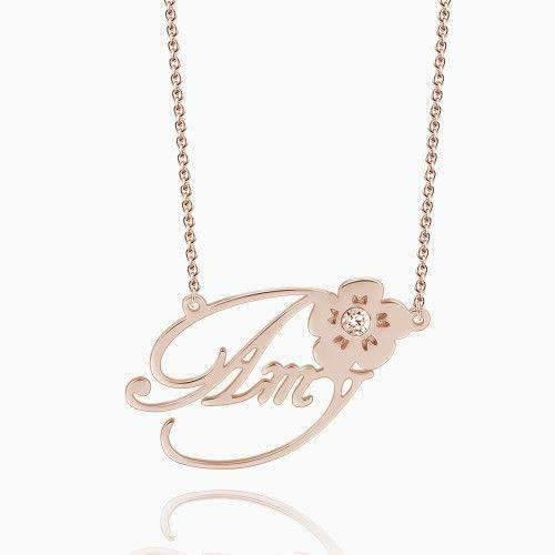 Personalized swarovski crystal name necklace with flower