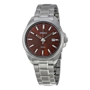 Seiko brown dial stainless steel mens watch