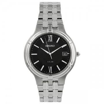 Seiko solar quartz stainless steel mens watch
