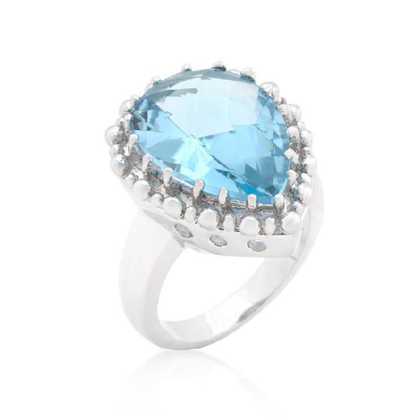 Solitaire blue topaz cocktail ring - r08287r-s31