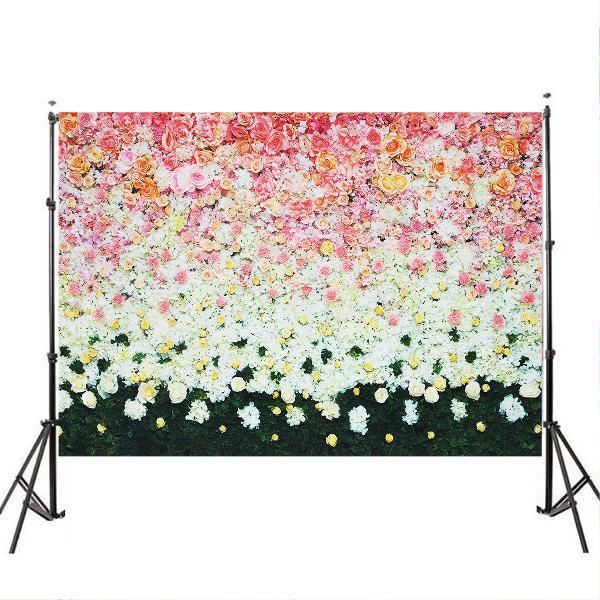 3x5ft 5x7ft vinyl pink rose white flower green grass