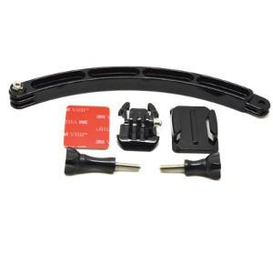 Helmet extension arm with adhesive mount for gopro hero