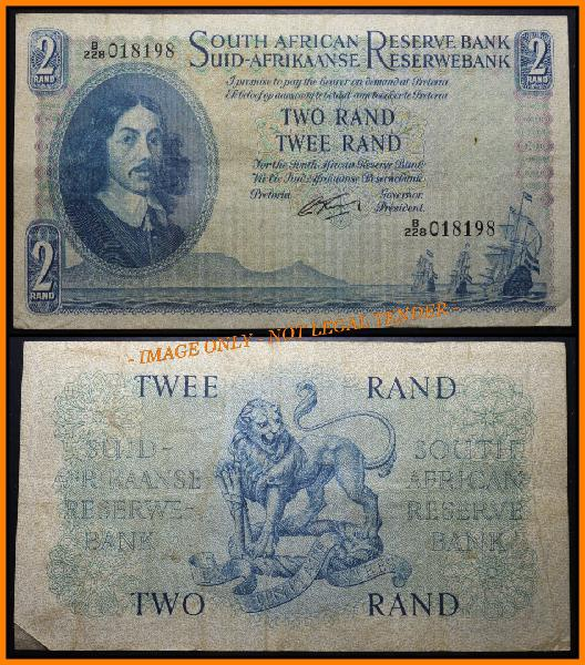 1962 s. a. bank note: two rand / twee rand: g. rissik: