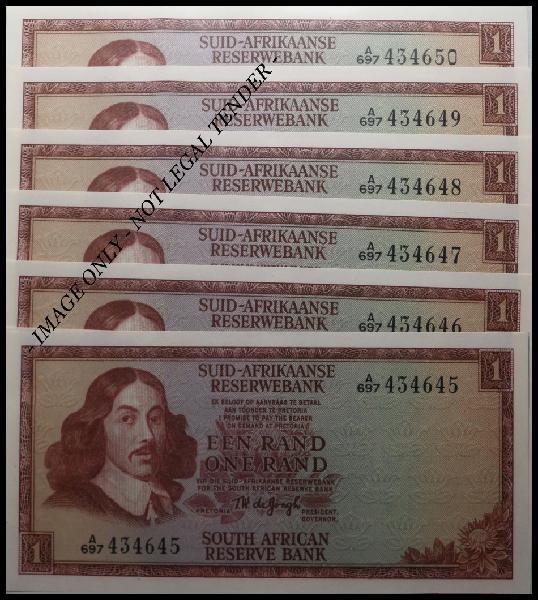 S. a. bank note: een rand - one rand - tw de jongh, (unc):