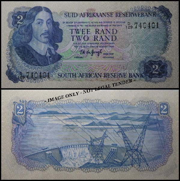 S. a. bank note: twee rand - two rand - tw de jongh, (unc)