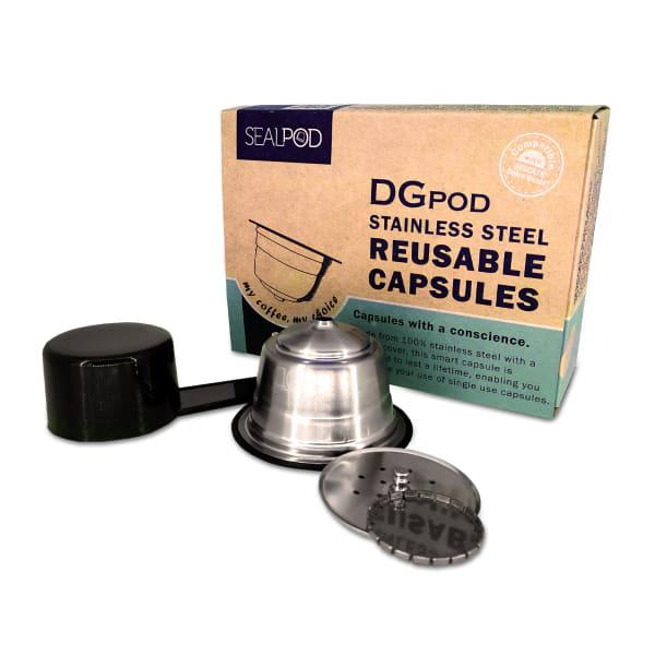 Sealpod dgpod reusable stainless steel capsules, pack of 2