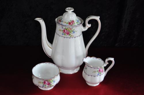 Royal albert petit point coffee pot, milk jug & sugar bowl