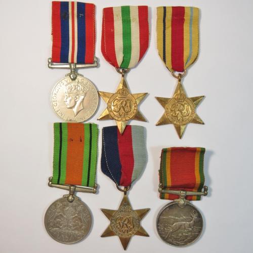 Set of 6 ww2 medals - awarded to 180210 ba van blerk
