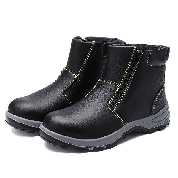 Lens mens safety steel toe non-slip zipper boots waterproof