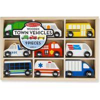 Melissa & doug wooden town vehicles set (9 piece)