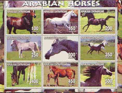 Central african republic 2000 arabian horses perf sheetlet