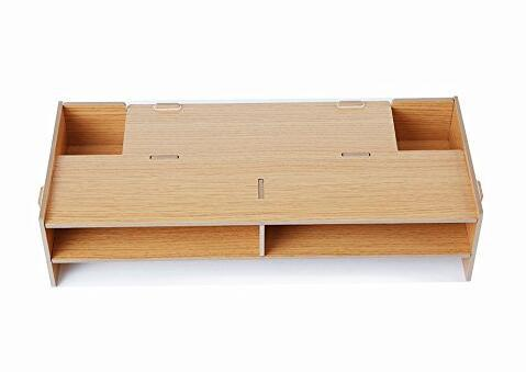 Desktop wooden monitor/screen stand with slots for office
