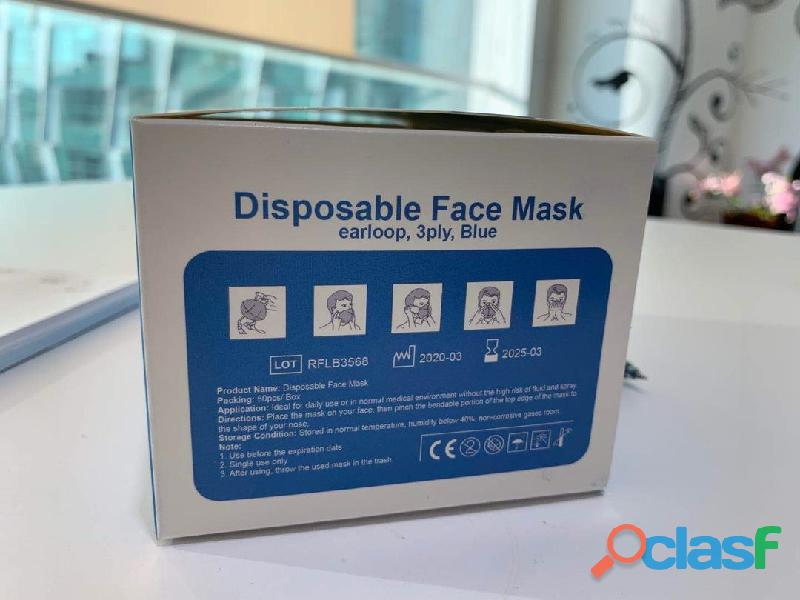 3PLY NON WOVEN BLUE PRENUIM EARLOOP DISPOSABLE FACE MASK FOR SALE 1