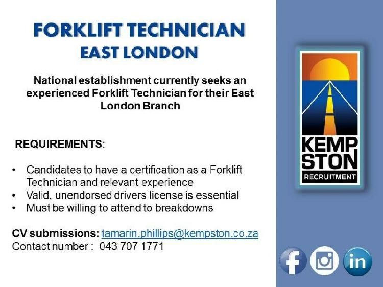 Forklift technician required - east london