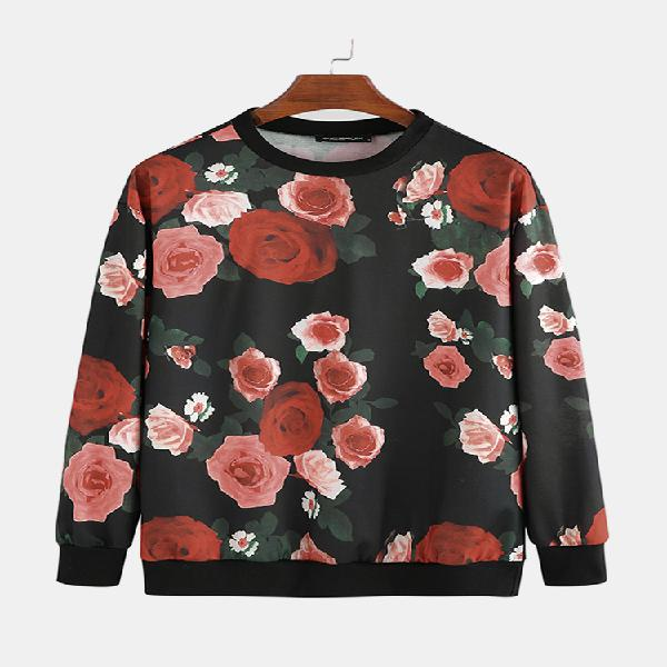 Mens fashion crew neck floral printing long sleeve casual