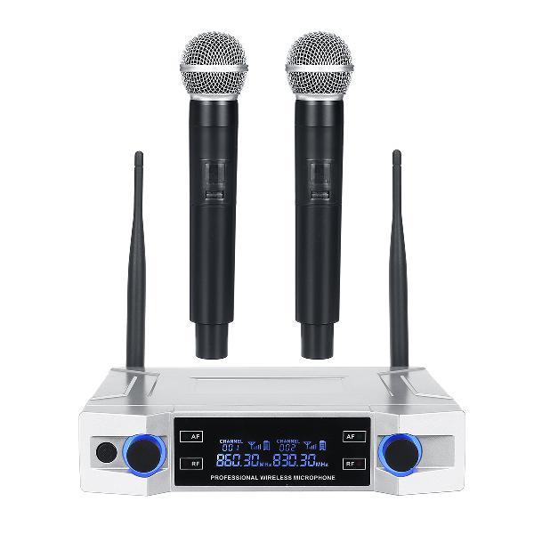 Wireless microphone system uhf 2 channel handheld mic kraoke