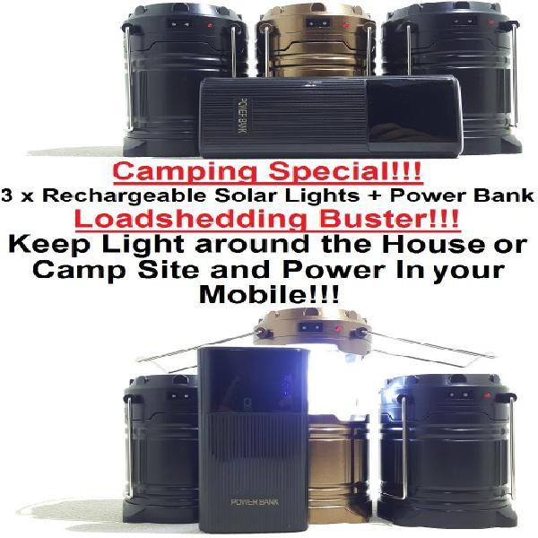 Solar led lamp + power bank special!!! 3 x 6 led solar