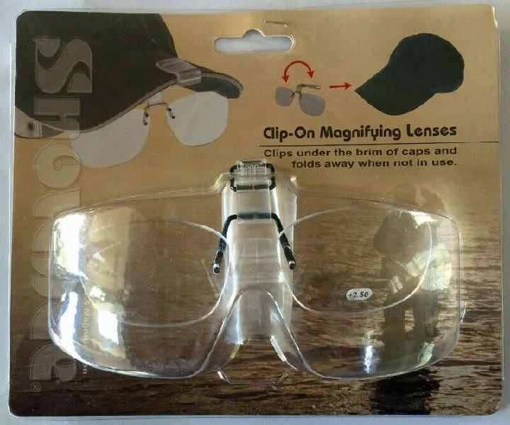 Snowbee cap-peak clip-on magnifier (+2.5) glasses
