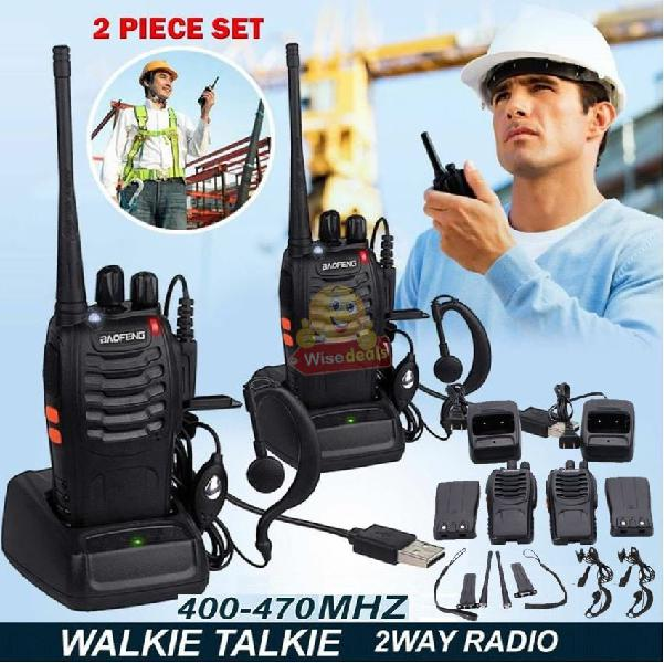 2 x handheld walkie talkie hand radio set with 16 channels,