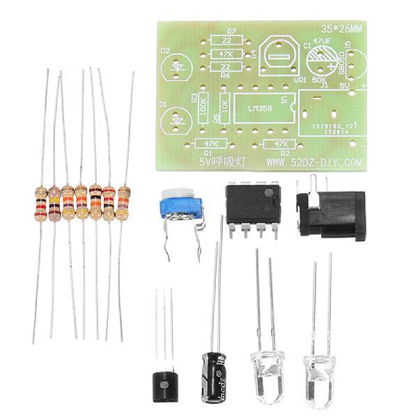 3pcs 5v breathing light kits diy led flash kit blue flashing