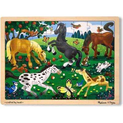 Melissa & doug wooden jigsaw puzzles - frolicking horses (48