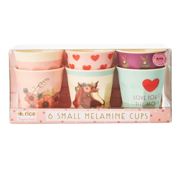 Rice farm animals melamine kids cups, set of 6