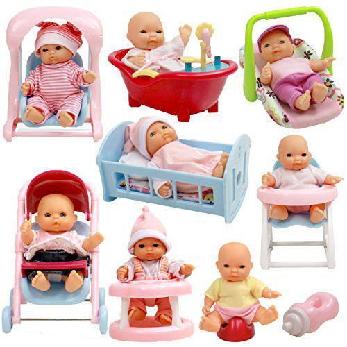 Set of 8 assorted 5 mini dolls, high chair, stroller, crib,