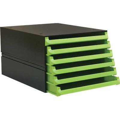 Bantex texo modular 6 drawer storage system (lime green)
