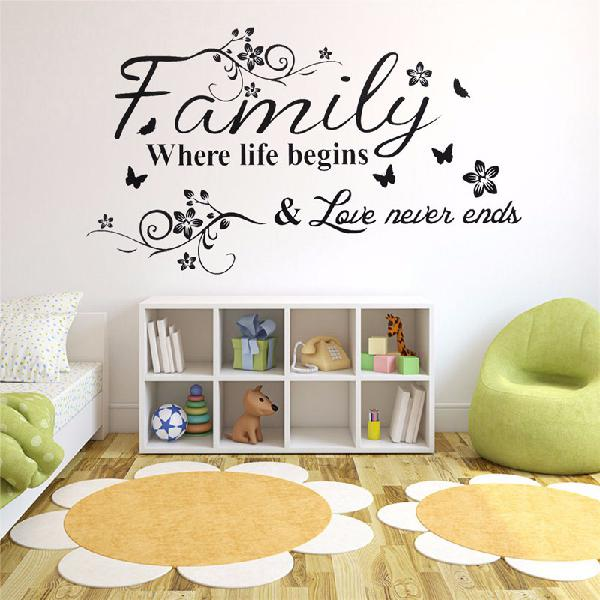 Family love tree quotes wall sticker art living room