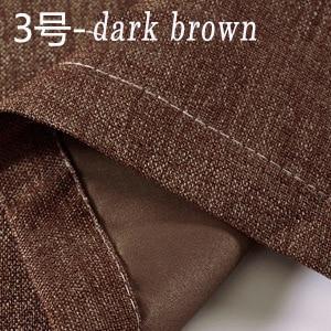 Solid color faux cotton linen blackout curtains high sha...