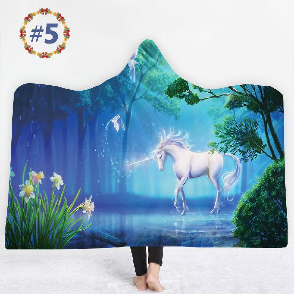 150*200cm winter 3d unicorns dream horse plush wearable